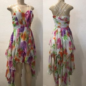 e27c3dc445cbc Roberta vintage High low floral print formal dress